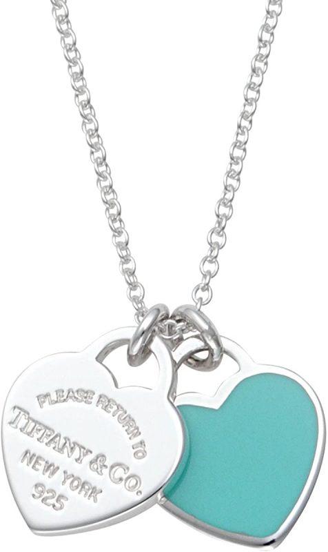 蒂芙尼(Tiffany&Co.)藍色搪瓷表面RTT雙心形標籤項鍊